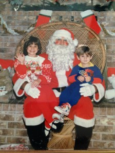 Santa and his kids when they were kids