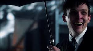 "Dastardly neighbor with umbrella as weapon -- Penguin from ""Gotham."""